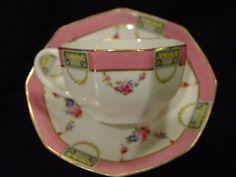 Royal Doulton Tea Cup & Saucer Pink Rose Flower Garlands