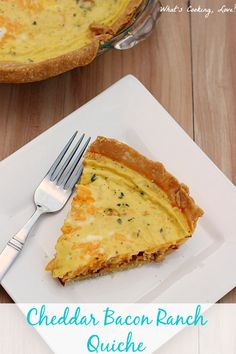 Cheddar Bacon Ranch Quiche.  A delicious quiche that combines the flavors of bacon, cheddar cheese, and ranch with eggs.  This would be great for breakfast or brunch.  #spon #egg #breakfast