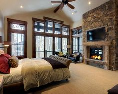 Bedroom with a subtle rustic feel #homedecor #stone #cabin