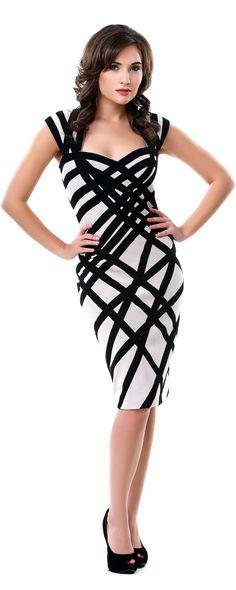 Nude & Black Bandage Dress
