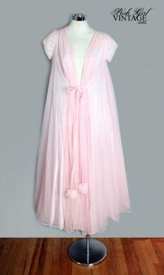 "Pink nylon chiffon peignoir by Lucie Ann, American, 1950's. Label: ""Lucie Ann - Claire Sandra Of Beverly Hills"" robes, dream closets, beverly hills, balls, peignoir, vintag lingeri, 1950s pink, 1950s fashion, luci ann"