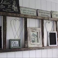 Ladder used as a shelf