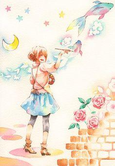 ✮ ANIME ART ✮ artist. . .painter. . .paint. . .painting. . .watercolor. . .fish. . .flowers. . .roses. . .moon. . .stars. . .art coming to life. . .fantasy. . .cute. . .kawaii
