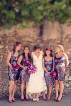 sparkly purple bridesmaid dresses. what's not to love?