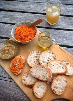 """""""Empty Nester"""" Moroccan Carrot Puree with Dukkah sprinkled on top (almonds, cumin, coconut)."""