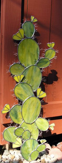 glass yard, glass cactus, yard art, yard stake, stain glass, small gardens, stained glass garden, cactus stained glass