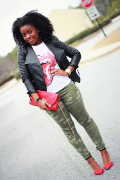 The Serena Saga - Leather studded jacket, camouflage pants, zara vamp heels Rocker Chic