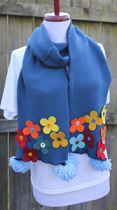 upcycled sweater scarf - flower button applique