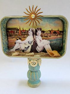 Sunny beach altered tin #altered_tin, #diy, #beach Love the little stand it is on.