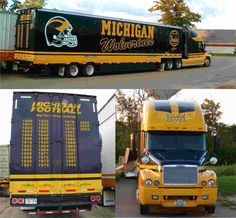 University of Michigan Wolverines - equipment transporter for away football games - 3 picture collage