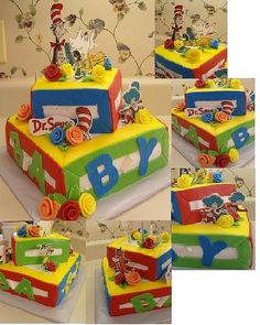 dr seuss baby shower ideas | dr seuss 2 tier baby shower cake dr seuss characters are made from ...