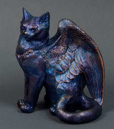 "WINDSTONE ""UMBRAL OPAL #1"" LARGE WINGED FLAP CAT FIGURINE, STATUE #ebay #cats #fantasy"