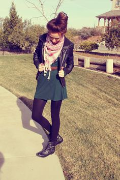 scarf, leather jacket, dress and boots