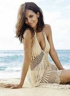 Sexy Crochet Cover-up on Halle Berry