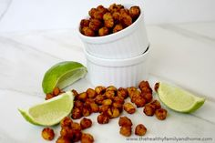 These Roasted Chickpeas with Chipotle and Lime are a tasty little snack that are really easy to make. They are a healthy replacement for chips or other savory snacks and have lots of fiber and pro...