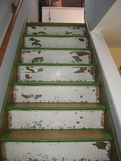 Old staircase redo on pinterest stair risers stairs and white trim - Refurbish stairs budget ...