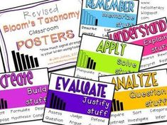 Are you a Common Core school? Then check out these Revised Bloom's Taxonomy Posters for Higher Level Thinking by Hello Literacy (in student friendly language & not too wordy)