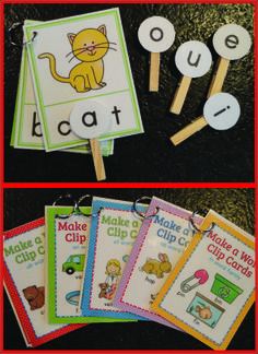 Make-a-word clip cards for CVC word families
