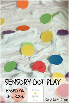 """Color sensory bin based on the book """"Press Here"""" by Herve Tullet. From Sugar Aunts"""