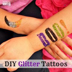 Glitter Tattoos DIY Tutorial - Made with Martha Stewart glitter and adhesive stencils! #party #halloween #glitter @Alissa Evans Huybers Crafts