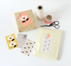 patterned paper on a simple wrapped package