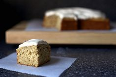 Spiced Applesauce Cake with Cinnamon Cream Cheese Icing