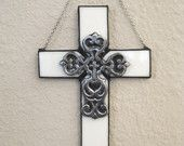 Wall Cross Stained Glass Cross Decorative Wall  Or Window Hanging Christian Wall Decoration