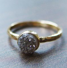 Silver gray druzy Ring in 14k Gold by friedasophie on Etsy, $89.00