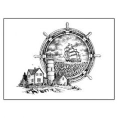 Clip Art Urn - Horizontal Design - Nautical Scene - Wilbert Funeral Services