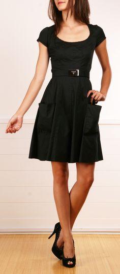 Prada black belted dress with pockets