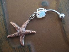 Star Fish Belly Button Jewelry Ring- Double Sided Starfish Charm Dangle Navel Piercing Opal Bar Barbell on Etsy, $12.00