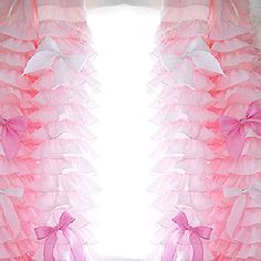 Pink Ruffled Bow Waterfall Curtain Panel by LovelyDecor on Etsy, $165.00