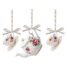 3-Piece Alice Porcelain Ornament Set