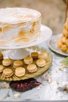 meringue wedding cake, photo by Danielle Poff http://ruffledblog.com/bohemian-winter-glam-inspiration #weddingcake #cakes #desserts