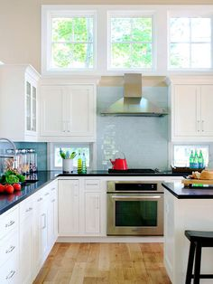 beach homes, home kitchen, cottag, lake michigan, midwest living, blue, high window, subway tiles, white cabinets