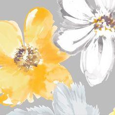 Dove Flowers gray & yellow beverage napkins
