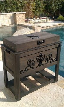 Custom Cedar Ice chests.  Create a one of a kind design. Igloo cooler wrapped in sanded cedar, stained or painted, and your choice of hardware.