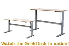 """The GeekDesk:  the desk adjusts from standing to sitting heights using an electric motor.  I like this desk because I will live longer than all you people that sit all day.  Really!  Read the article in Atlantic Monthly """"Confirmed: He Who Sits...""""  I bought one of these for my office and now stand most of the day...you build up to it a little at a time.  I would never go back to a traditional desk.  Lots of stuff on the internet about stand-up desks and what people experience.  Give it a look."""