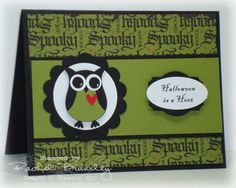 Stampin Up: Owl Builder Punch. Halloween card but the design could be adapted for any occasion.