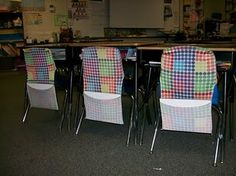 Stretchy book covers as chair covers to hold supplies - WHY DID I NOT THINK OF THIS?!?!