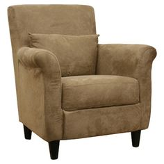 Upholstered arm chair with a wood frame and foam cushioning.     Product: ChairConstruction Material: Microfiber,...