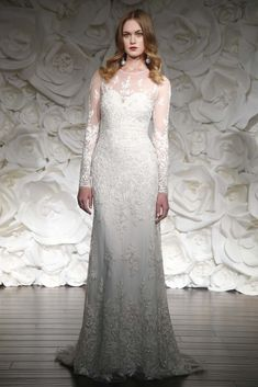Long sleeved wedding dress from Naeem Khan's 2015 Collection