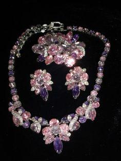 Fabulous Vintage Signed Eisenberg Ice Rhinestone Brooch Necklace Earring Set | eBay