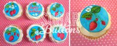 Sugar Buttons Cakes | Handmade-Decorated-Cupcakes | Vintage Strawberry design