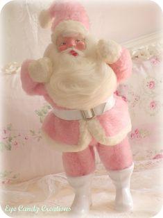 Pink and white vintage Santa.