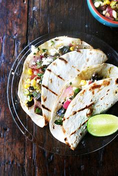 tacos with grilled poblano, corn & red onion salsa