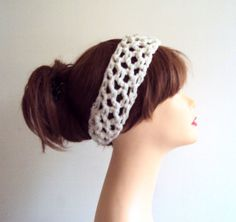 Crochet Head Band With Elastic Closure Ivory Off White Spring Summer Fall Winter Women Girls Clothing Hair Accessories Gift Ideas Under 20 by GrahamsBazaar