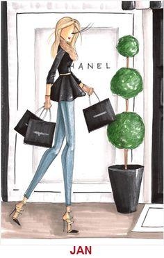 . draw, tags, brittani fuson, chanel illustr, luggag tag, art, fashion illustrations, haute couture, fashion sketch