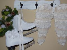 My Christmas coat hook with ice skates & angel wings.