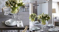 grey & white + creamy tulips